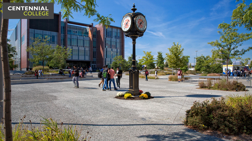 picture of the centennial college progress campus courtyard and the alumni clock tower