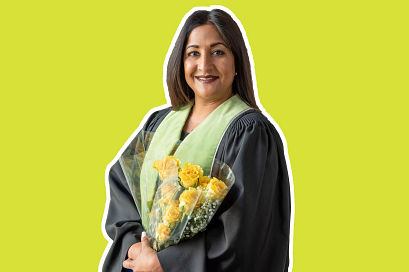 centennial college alumni Lina Farrell in a convocation gown