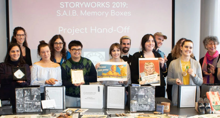 Story Art Centre's Museum Students displaying their contribution to WW2 Collection: their Memory Kits