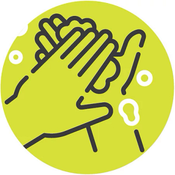 Illustrated icon of hand washing with soap