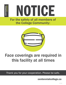 Poster about face coverings required on campus to protect from COVID-19