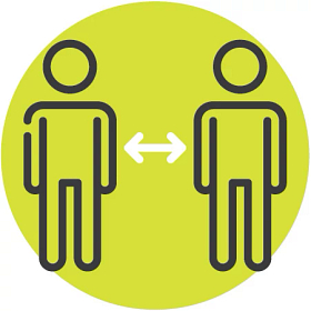 Illustrated icon of two people socially distancing